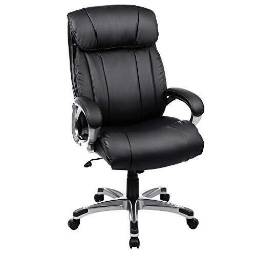 SONGMICS Big & Thick Office Chair Executive Chair with Large Seat and Tilt Function Swivel Computer Chair PU Black UOBG55BK by SONGMICS