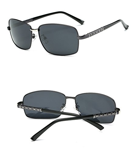 Driving black Sunglasses Glasses Mirror Polarized Frame UV Sunglasses Eyeglasses Protection Black Sunglasses Lens Fauhsto Men's Grey xO0Inq