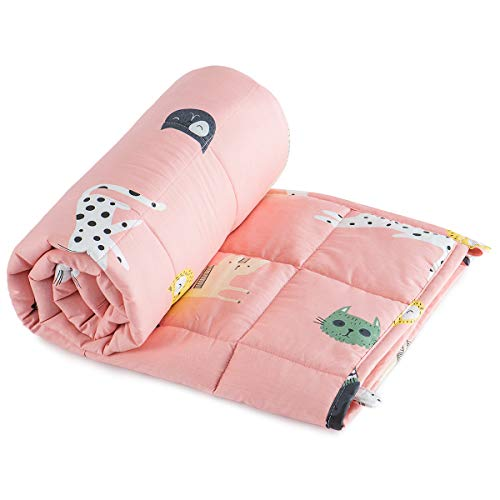 Sivio Weighted Blanket for Kids 36x48 Inches (100% Breathable Natural Cotton, 5 lbs Heavy Blanket), Pink Cat