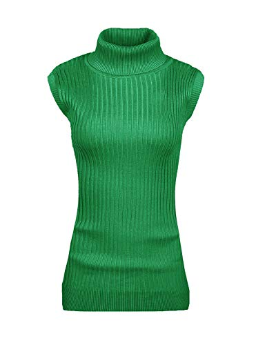 (v28 Women's Sleeveless Ribbed High Neck Turtleneck Stretchable Knit Sweater Top (XL,Green))