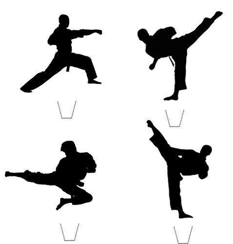 Martial Arts Silhouette - 12 x Novelty Karate TaeKwondo Martial Arts Silhouette Mix Edible Standup Wafer Paper Cake Toppers