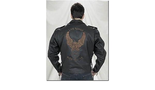 Lasumisura Mens Black Genuine Cowhide Leather Jacket 1510440