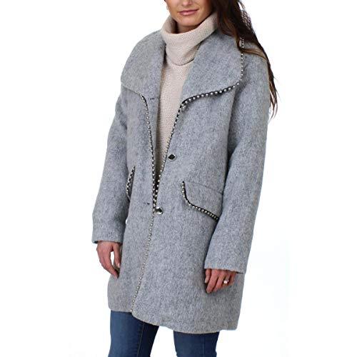 Steve Madden Womens Fall Wool Blend Midi Coat Gray M