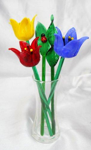 NEW Hand Blown Glass Tulip Flowers & Leaves Set & Glass Vase & Ladybug on Leaf