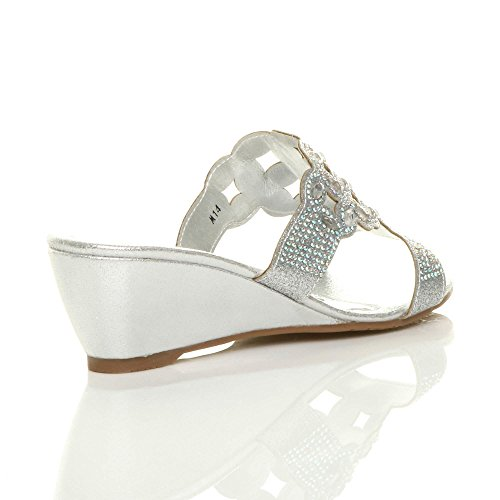 Ajvani Womens Ladies Low mid Wedge Heel Diamante Cut Out Evening Sandals Mules Size Silver uuyPgsym0
