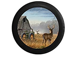 Full Color Old Barn White Tail Deer Big Buck Antlers Green Farm Tractor Spare Tire Cover Black 33 in