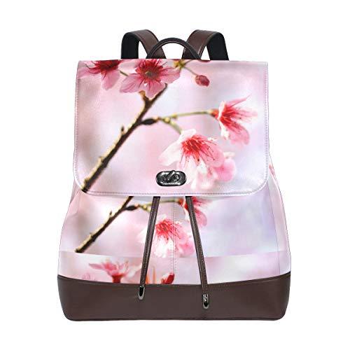 (FAJRO Cherry Blossom PinkTravel Backpack Leather Handbag School Pack)
