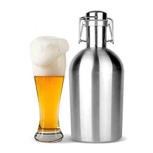 ANLIN 2L Beer Growler 64oz Stainless Steel with Swing-Top (Inner capacity 1.8L-1.9L) Keeps Fresh and Cold and Airtight Seal