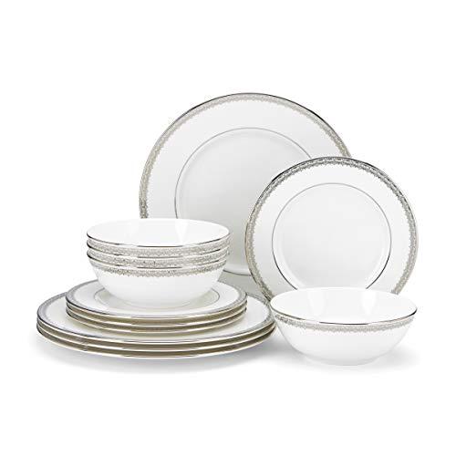 Lenox Lace Couture 12-Piece Dinnerware Set, 14.70 LB, White