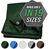 Tarp Cover 7X10 Green/Black Heavy Duty Thick Material, Waterproof, Great for Tarpaulin Canopy Tent, Boat, RV Or Pool Cover!!! (Poly Tarp Heavy Duty 7X10)2 X3 M