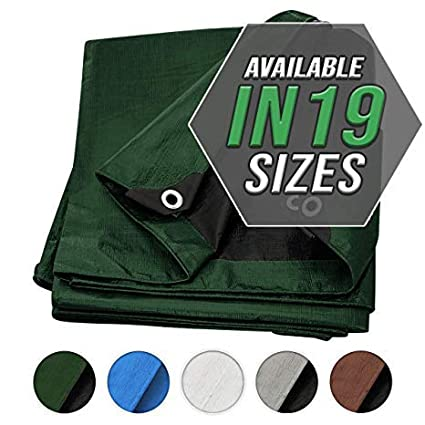Trademark Supplies RV Or Pool Cover! Boat Waterproof Great for Tarpaulin Canopy Tent Tarp Cover 8X10 Silver//Black 2-Pack Heavy Duty Thick Material