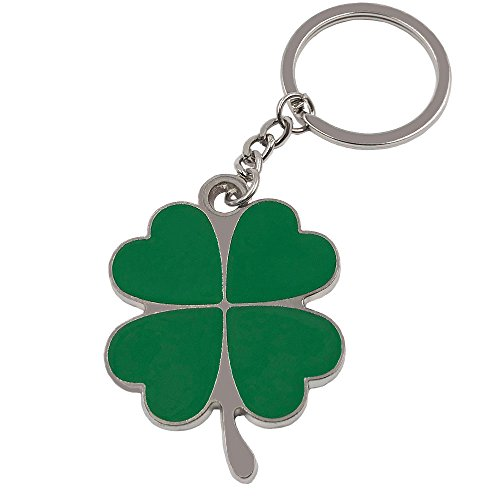 Wang Zhai Lucky Keychain Four Leaf Clover Key Chain for Men Zinc Ring Keyring for Kids Four-Leaf Clover Fortune Key Holder Creative (Poker Lucky Charms)