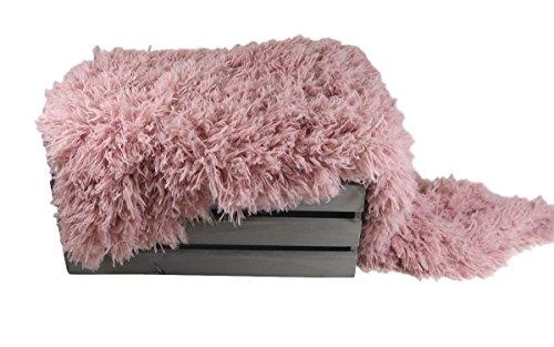 VEGAN (Animal Friendly) Peaceful Pink Faux Flokati Fur, Newborn Photo Props, Hypoallergenic & Washable Baby Props, Basket Stuffer Fur Photography Props - CUSTOM PHOTO - Sr Custom Clothing