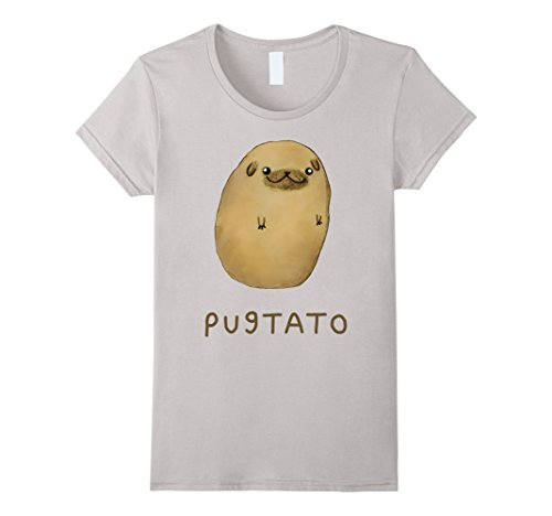 Women's Funny Cute Dog Pug Potato T-Shirt Large Silver