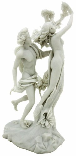 Top Collection Apollo and Daphne Replica Statue 14-Inch God of Light, Sun, Healing, and Music in White Marble ()