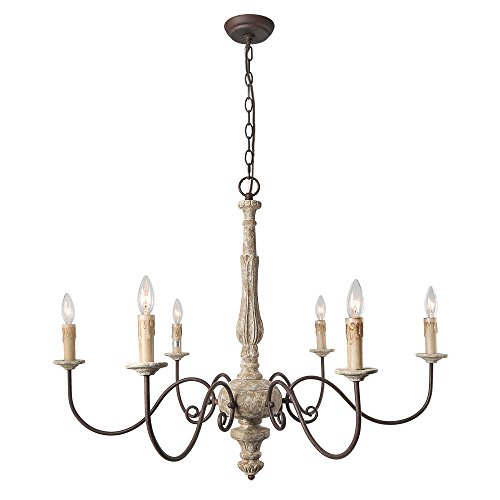 LALUZ 6-Light Shabby Chic French Country Chandelier
