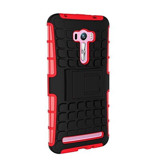 Asus Zenfone Selfie ZD551KL Funda,COOLKE Duro resistente Choque Heavy Duty Case Hybrid Outdoor Cover case Bumper protección Funda Para Asus Zenfone Selfie ZD551KL (5.5 inches) - Blanco Rojo