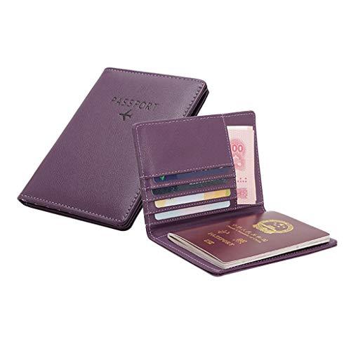 KawaiineRFID Blocking Passport Holder Cover Case PU Vegan Leathe Wallet Tri-fold Document Travel Organizer Card Holder