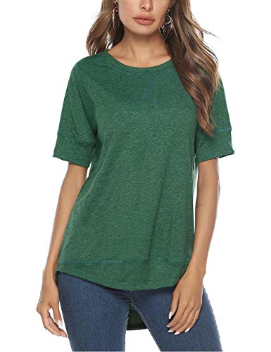Tops for Women Casual Loose Tunic Top Long Sleeve Blouse for Legging(Green,L)