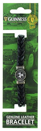 Guinness Genuine Black Leather Shamrock Bracelet