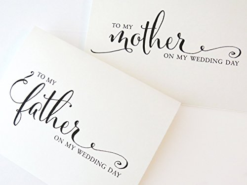 To My Parents on My Wedding Day, Wedding Card to my Mother and Father, Parents of the Bride or Groom Cards, To my Mother, 1 or 2 Greetings Cards with envelopes - Your Choice