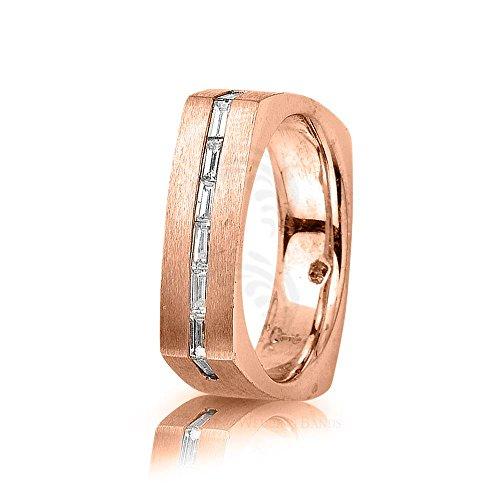 14k Rose Gold 0.48 Ct Baguette Diamond Band Wedding 6mm
