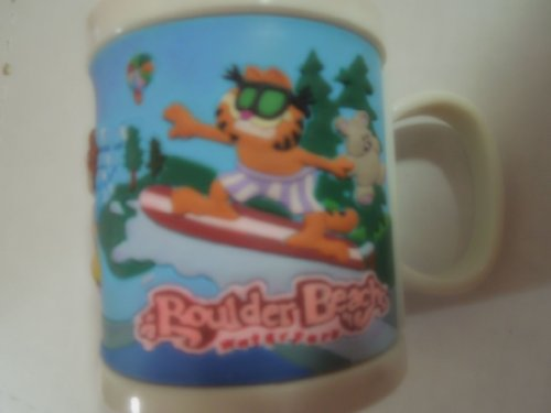 Garfield Mug Cup Boulder Beach Water Farm Hard Plastic Mug with Molded Ruberized Picture Around It.