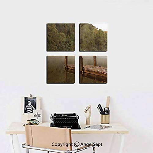 AngelSept 4-Piece Gallery Canvas Wall Art,Wooden Pier in Lake with Trees Forest Landscape Foggy Morning in Woodland,16