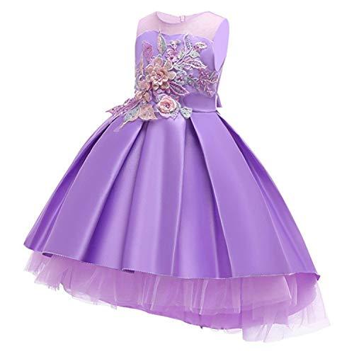 Cotton Lining Baby Girls Dress Wedding Party Dresses Kids Princess Summer Dress,Purple,9]()