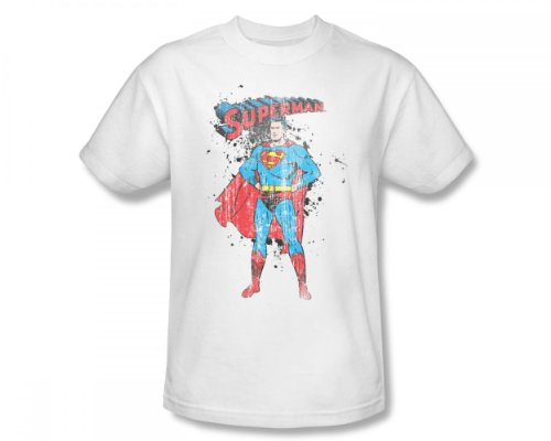 Superman Vintage Ink (Superman - Vintage Ink Splatter Slim Fit Adult T-Shirt In White, XX-Large, White)