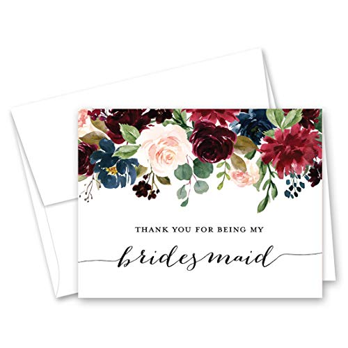 (Navy Burgundy Floral Bridesmaid Thank You Cards - Bridal Party Thank You Cards - Set of 10)