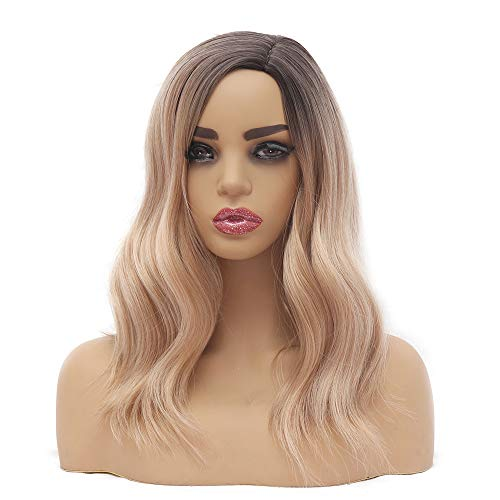 16 Inches Ombre Blonde Wavy Hair Short Bob Wigs for Black Women, Warm Brown Two Tone Mixed Blonde Color Body Wave Heat Resistant Synthetic Hair Women's Wig