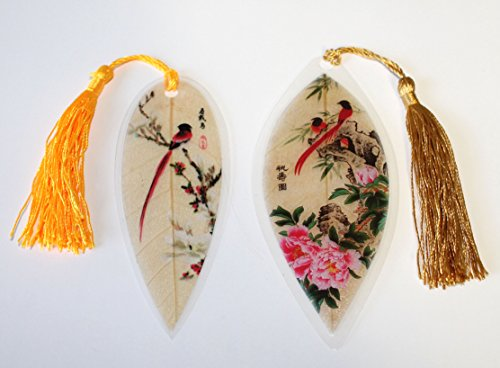 Lucore Red Birds Pair Leaf Bookmarks -Made of Real Leaves - 2 Pcs Lucky Charm, Ornament, Hanging & Wall Decor, Art Decoration Photo #2