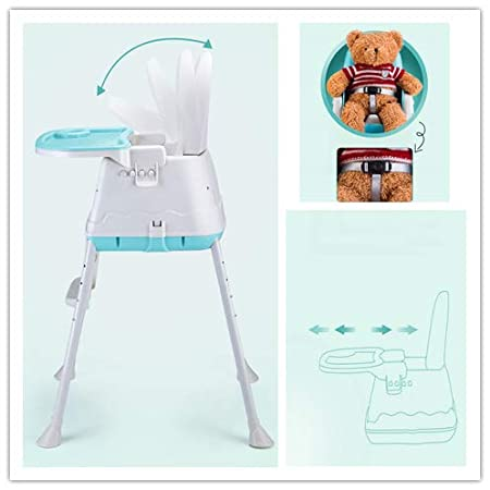 Comfortable Cushion Detachable Soft Leather Blue 3 in 1 Baby Highchairs Adjustable for Height /& Backrest /& Safety Belt /& Tray Removable Baby Kids Toddler Infant Child Feeding Seat Chair 4 Wheels