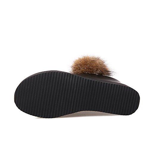 AgooLar altos cremallera negro para de botas redonda punta tacones mujer sólidas XOrgOqw