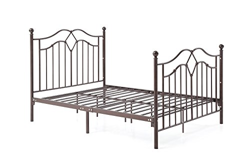 Hodedah Complete Metal Full-Size Bed with Headboard, Footboard, Slats and Rails in Bronze Brass Full Size Bed
