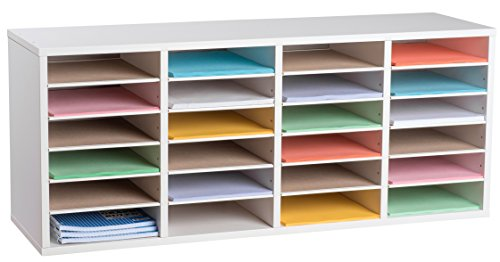 AdirOffice Wood Adjustable Literature Organizer (24 Compartment, White)