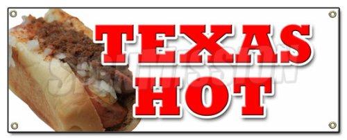 TEXAS HOT BANNER SIGN weiner pepper cayene dog stand