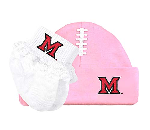 Future Tailgater Miami Ohio Redhawks Football Cap and Socks with Lace Baby Set