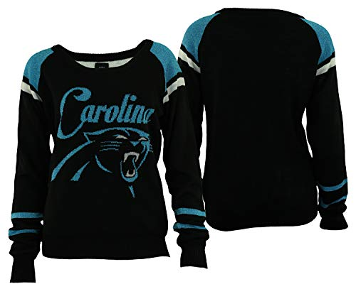 Forever Collectibles Carolina Panthers Glitter Scoop Neck Sweater - Womens Small