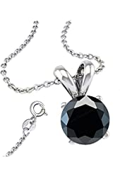 Black Cubic Zirconia Necklace Pendant with 18 Inch Rolo Chain in 925 Sterling Silver