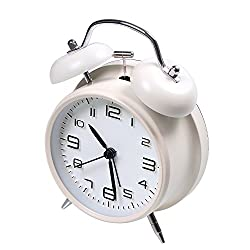 "4"" Twin Bell Alarm Clock Battery Operated, Jiemei Loud Home Alarm Clock with Stereoscopic Dial, Nightlight, Non Ticking for Bedroom (White)"