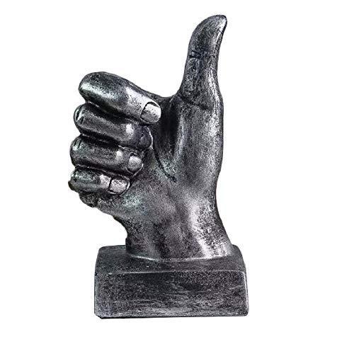 Creative Statues and Abstract Hand Sculptures for Home & Office Decor,Finger Signs Marks Figurines (Silver Thumbs Up)