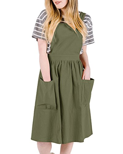Imysty Womens Suspenders Bib Skirts A-Line Casual Pinafore Overall Midi Dress with Pockets (Length Knee Bib)