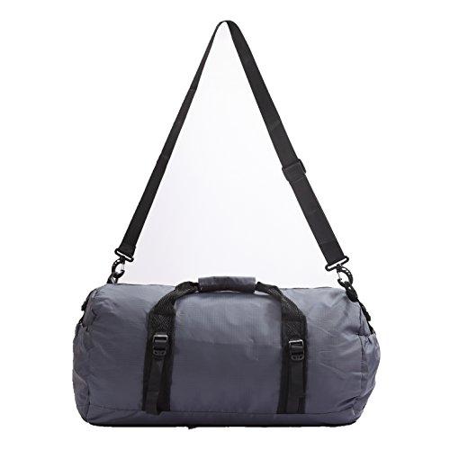 toodou 40L faltbar Sporttasche Barrel mit Schultergurt, Sport Duffel Tasche für Damen und Herren, wasserabweisend Nylon (grau)