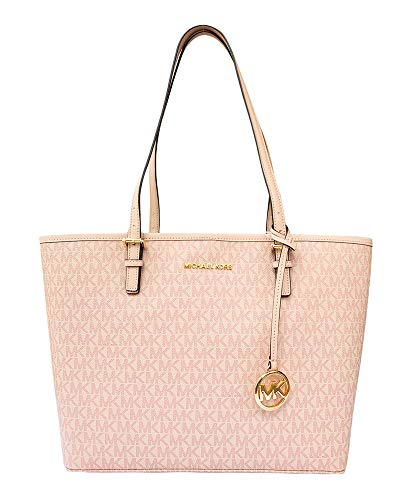 (MICHAEL Michael Kors Jet set travel medium MD carryall tote bag signature PVC ballet pink )