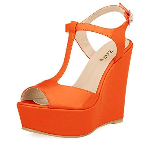 ZriEy Women's Gorgeous Sexy Peep Toe High Heels Platform Wedge Sandals Orange size 8.5/39 M (Orange Platforms Heels)
