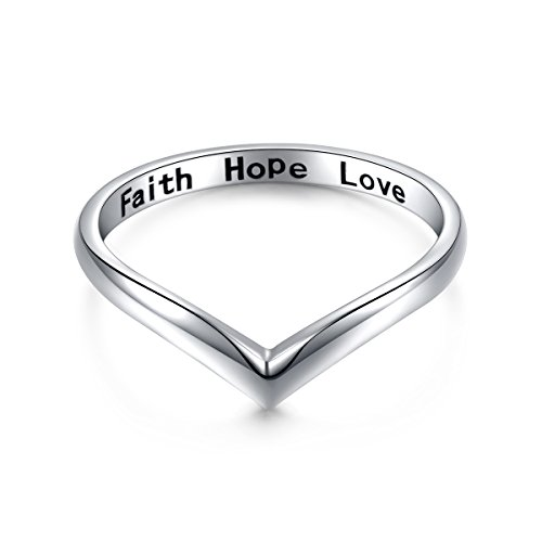 Sterling Silver Jewelry Faith Hope Love Beads Chevron Thumb Ring V Shape Ring (Size 7)