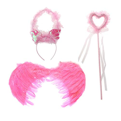 3pcs Feather Fairy Angel Wings Costume with Halo and Wand and Wings for Cosplay Masquerade Carnival Party - Size M, Pink]()