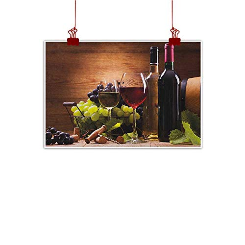 Decorative Music Urban Graffiti Art Print Wine,Glasses of Red and White Wine Served with Grapes French Gourmet Tasting, Brown Ruby Pale Green 36